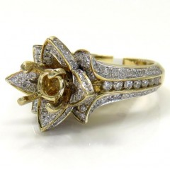14k Yellow Gold Semi Mount Diamond Flower Ring 0.86ct