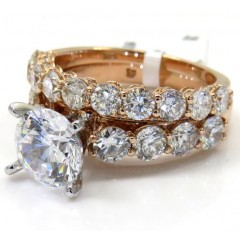 14k Rose Gold Two Row Semi Mount Diamond Engagement Ring Set 2.19ct