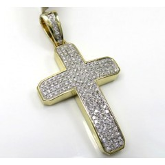 10k Yellow Gold 4x4 Solid Frame Diamond Cross 1.46ct