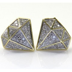 10k Yellow Gold Diamond Logo Earrings 0.24ct
