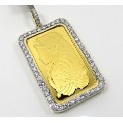 24k Gold Large Lady Fortuna Diamond Pendant 3.59ct