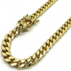 10k Yellow Gold Hollow Boxed Lock Miami Chain 22-28 Inch 5.5mm