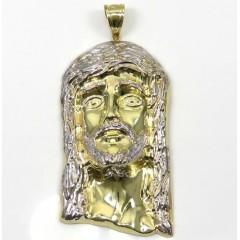 10k Yellow Gold Two Tone Large Jesus Piece Pendant
