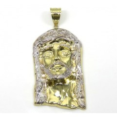 10k Yellow Gold Two Tone Medium Jesus Piece Pendant