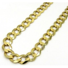 10k Yellow Gold Solid Cuban Link Chain 18-36 Inch 7mm