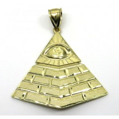 10k Yellow Gold All Seeing Eye Pyramid Pendant