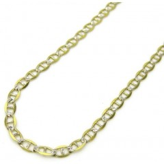 10k Yellow Gold Two Tone Diamond Cut Mariner Chain 16-24 Inch 2mm