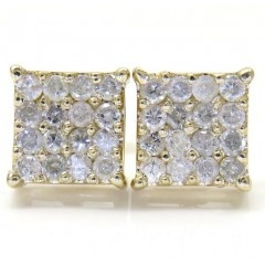 14k Yellow Gold 4x4 Square Diamond Earrings 0.65CT