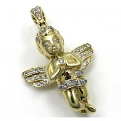 10k Yellow Gold Baby Cherub Diamond Pendant 0.85CT