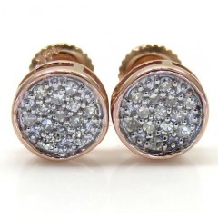 14k White Yellow And Rose Gold Diamond Small Snow Cap Earrings 0.10ct