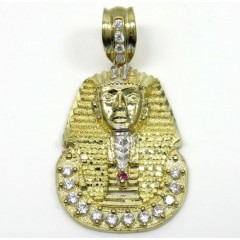 10k Yellow Gold Medium Cz King Tut Pharaoh Head Pendant 0.50ct