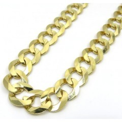 14k Yellow Gold Solid Cuban Link Chain 30 Inch 11.5mm