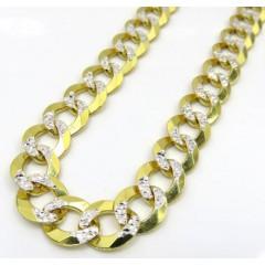 14k Yellow Gold Diamond Cut Thick Cuban Chain 26 Inch 9.6mm