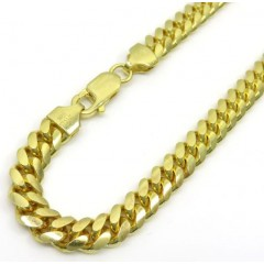 925 Yellow Sterling Silver Miami Link Bracelet 8.50 Inch 6.5mm