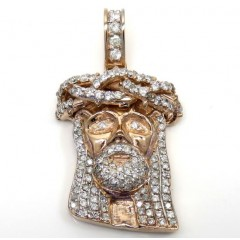 14k Rose Yellow Or White Gold Medium Diamond Jesus Piece Pendant 2.25ct