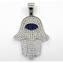 14k White Gold Diamond Large Hamsa Pendant 6.00ct