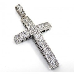 14k White Gold 2x2 Solid Diamond Cross 1.50ct