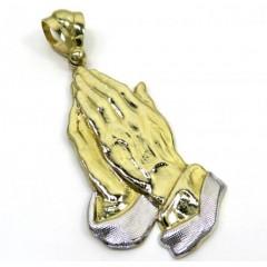 10k Yellow Gold Large Praying Hands Pendant