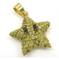 14k Yellow Gold Diamond Mario Star Pendant 1.20ct
