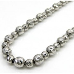14k White Gold Diamond Cut Bead Chain 16 Inch 5mm