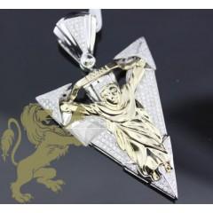 1.50ct 14k Gold Diamond arrow Point Jesus Pendant