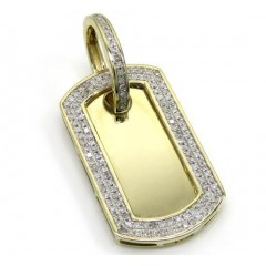 10k Yellow Gold 2 Row Round Diamond Mini Dog Tag Pendant 0.31ct