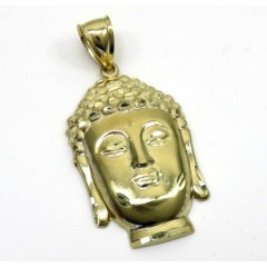 10k Yellow Gold Large Buddha Face Pendant