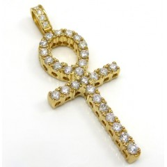 14k Yellow Gold Large Cut Diamond Ankh Cross 2.10ct