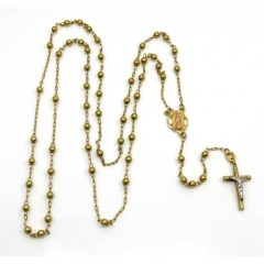 14k Yellow Gold Smooth Bead Rosary Chain 28 Inch 3mm