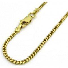 925 Yellow Sterling Silver Solid Miami Link Chain 28 Inches 1.80mm