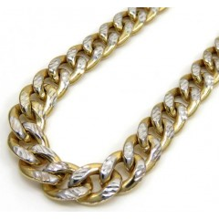 10k Yellow Gold Reversible Two Tone Miami Chain 24-26