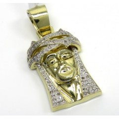 10k Yellow Gold Diamond Jesus 3d Face Pendant 0.70ct