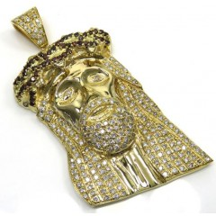 14k Yellow Gold Blood Crown Diamond Jesus Piece Pendant 7.00ct