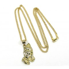 10k Yellow Gold Small Praying Hands Pendant With 22 Inch 2.50mm Diamond Cut Cuban Chain