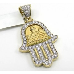14k Yellow Gold Vs Diamond Hamsa Pendant 1.61ct