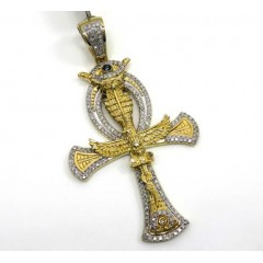 10k Yellow Gold Diamond Evil Eye Eagle Ankh Cross 0.92ct
