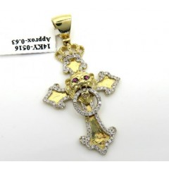 14k Yellow Gold Crown Lion Head Diamond Cross Pendant 0.63ct