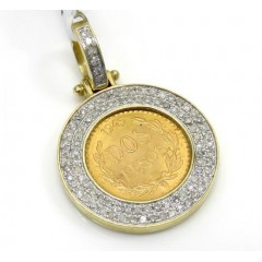 14k Yellow Gold Diamond Dos Pesos Coin Pendant 0.52ct