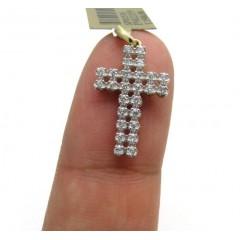 10k Yellow Gold 2 Row Diamond Micro Cross 0.25ct