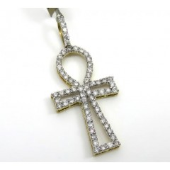 10k Yellow Gold Large Outlined Diamond Ankh Cross 1.13ct