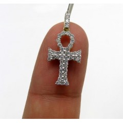10k Yellow Gold Small Diamond Ankh Cross 0.49ct