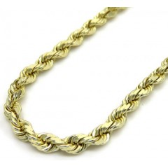 10k Yellow Gold Solid Diamond Cut Rope Chain 24 Inch 2.50mm