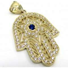 10k Yellow Gold Blue Cz Star Of David Hamsa Pendant 2.00ct