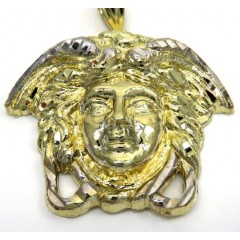 10k Two Tone Gold Xl Medusa Head Pendant