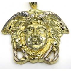 10k Two Tone Gold Xl Medusa Head Pendant