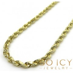 14k Yellow Gold Skinny Diamond Cut Rope Chain 16-30 Inch 1.50mm