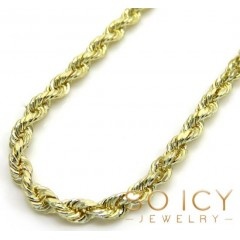 14k Yellow Gold Solid Diamond Cut Rope Chain 18-30 Inch 2mm