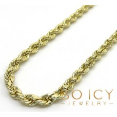 14k Yellow Gold Solid Diamond Cut Rope Chain 18-30 Inch 2.50mm