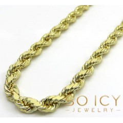 14k Yellow Gold Solid Diamond Cut Rope Chain 20-30 Inch 3.30mm