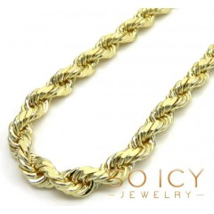 14k Yellow Gold Solid Diamond Cut Rope Chain 22-30 Inch 4mm
